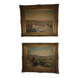 Framed Fox Hunting Paintings - A Pair For Sale