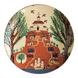 1990s Turtle Creek Round Church Historical Art Redware Pottery Platter For Sale