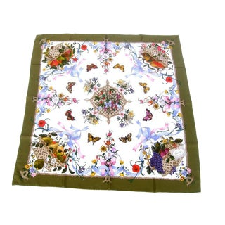 Gucci Italy Spring Floral and Butterfly Hand Rolled Silk Scarf, Circa 1970s For Sale