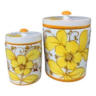 Vintage Italian Ceramic Lidded Jars - Set of 2 For Sale