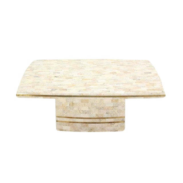 Brass Inlay Tessellated Maitland Smith Coffee Table For Sale