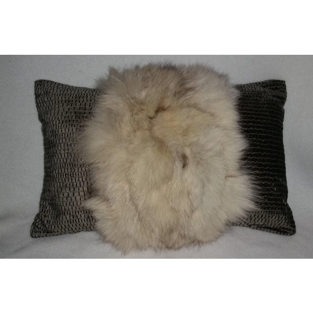 Contemporary White Fox and Silvery Green Pillow For Sale In Miami - Image 6 of 6