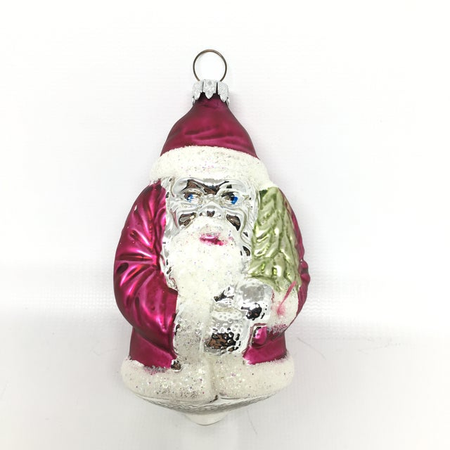 vintage glass santa christmas tree ornaments set of 3 for sale image 9 of
