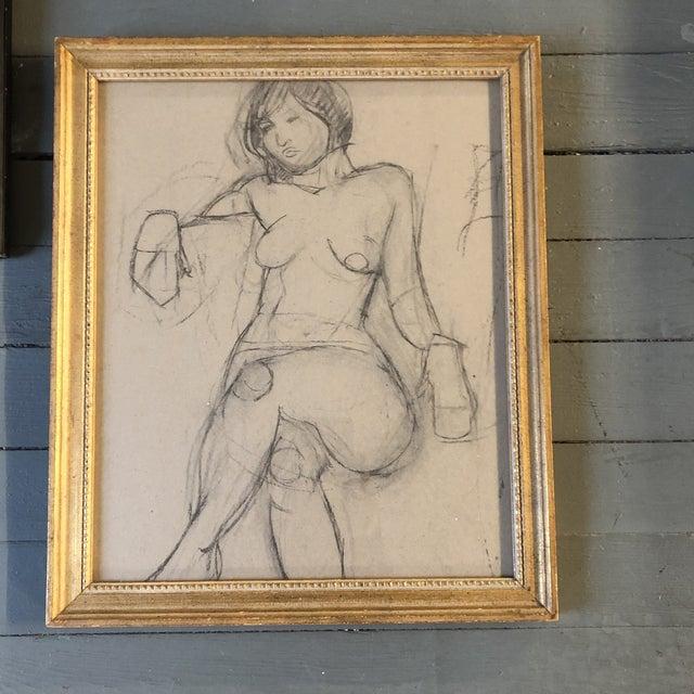 1950s Vintage Modernist Female Nude Charcoal Study Drawing Vintage Gilt Frame For Sale - Image 5 of 5
