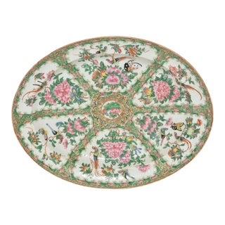 Chinese Rose Medallion Platter, 19th Century For Sale