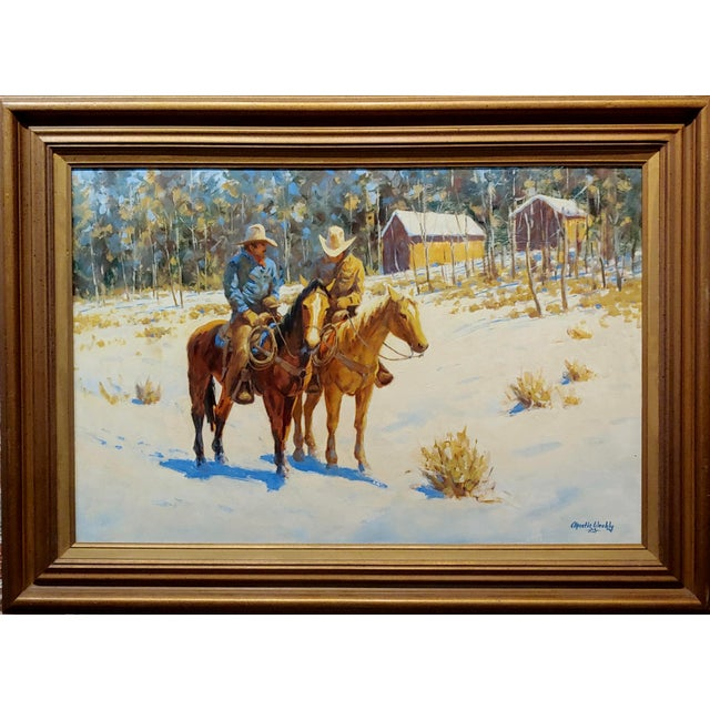 """Martin Weekly - Cowboys on Horse - Oil painting impressionist oil painting on canvas -signed frame size 45 x 32"""" canvas..."""