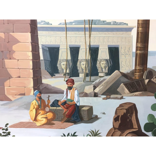 Egyptian Revival Vintage French Scenic Wallpaper Inspired Painting For Sale - Image 3 of 5