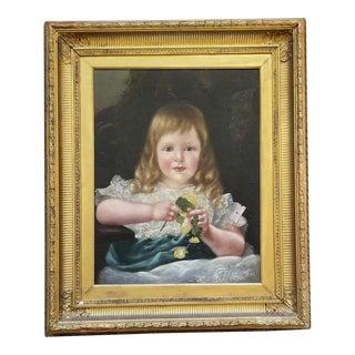 Antique 19th Century Oil Portrait Painting of a Child For Sale