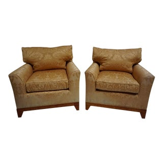 Fortuny Fabric Club Chairs-A Pair For Sale