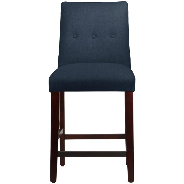 Tufted Linen Navy Tapered Counter Stool For Sale In Chicago - Image 6 of 9