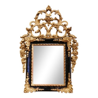 18th Century French Louis XV Carved Giltwood and Blackened Mirror From Provence For Sale