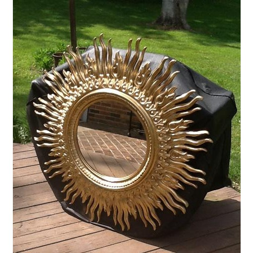 1970s Vintage Gold Sunburst Wall Mirror For Sale - Image 5 of 6
