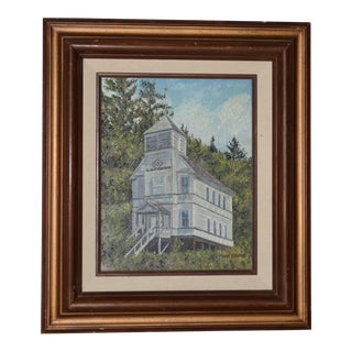 1970s Original House Landscape Oil Painting by Diane Beeston For Sale