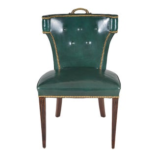 Vintage Green Leather Side or Desk Chair For Sale