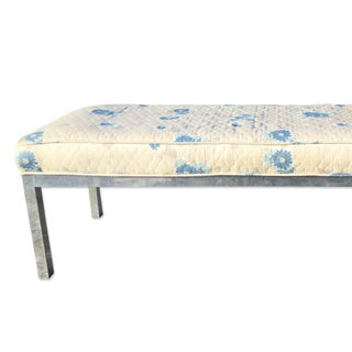 Mid Century Modern Brushed Aluminum Cushion Top Bench Preview