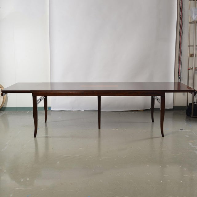 Brown Bespoke Art Deco Style Walnut Extending Dining Table For Sale - Image 8 of 12