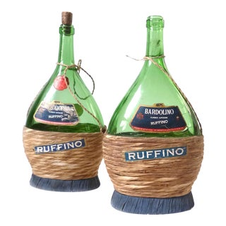Vintage Italian Wicker Green Glass Bottles, 1970s - A Pair