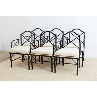Chinese Chippendale Faux Bamboo Iron Garden Chairs Preview