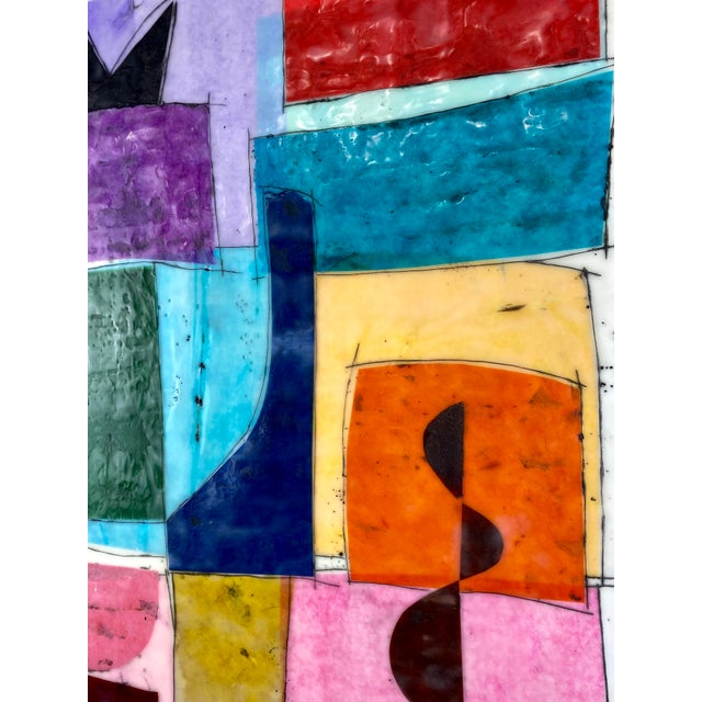 """Mid-Century Modern """"Seventeen Summers Ago"""" Encaustic Collage Painting by Gina Cochran For Sale - Image 3 of 4"""