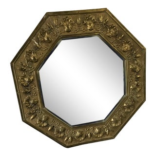 Vintage Octagonal Brass Framed Mirror For Sale
