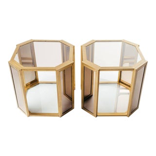 Pair of 1970's Hollywood Regency Brass End Tables With Bronze Glass For Sale