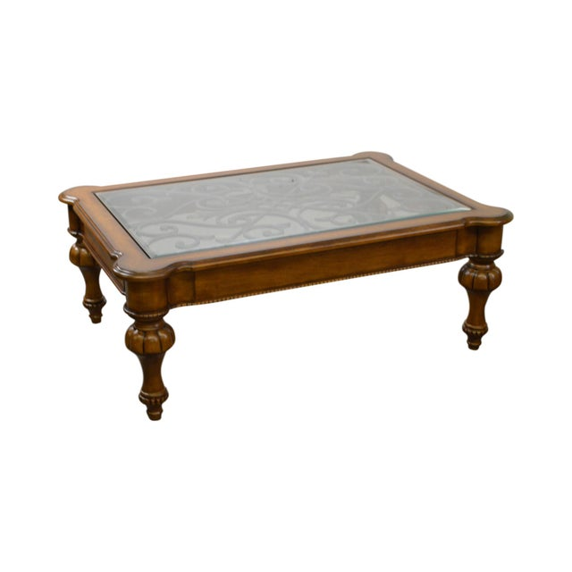 Ethan Allen Oval Glass Top Coffee Table: Ethan Allen Devereaux Tuscan Style Coffee Table (B)