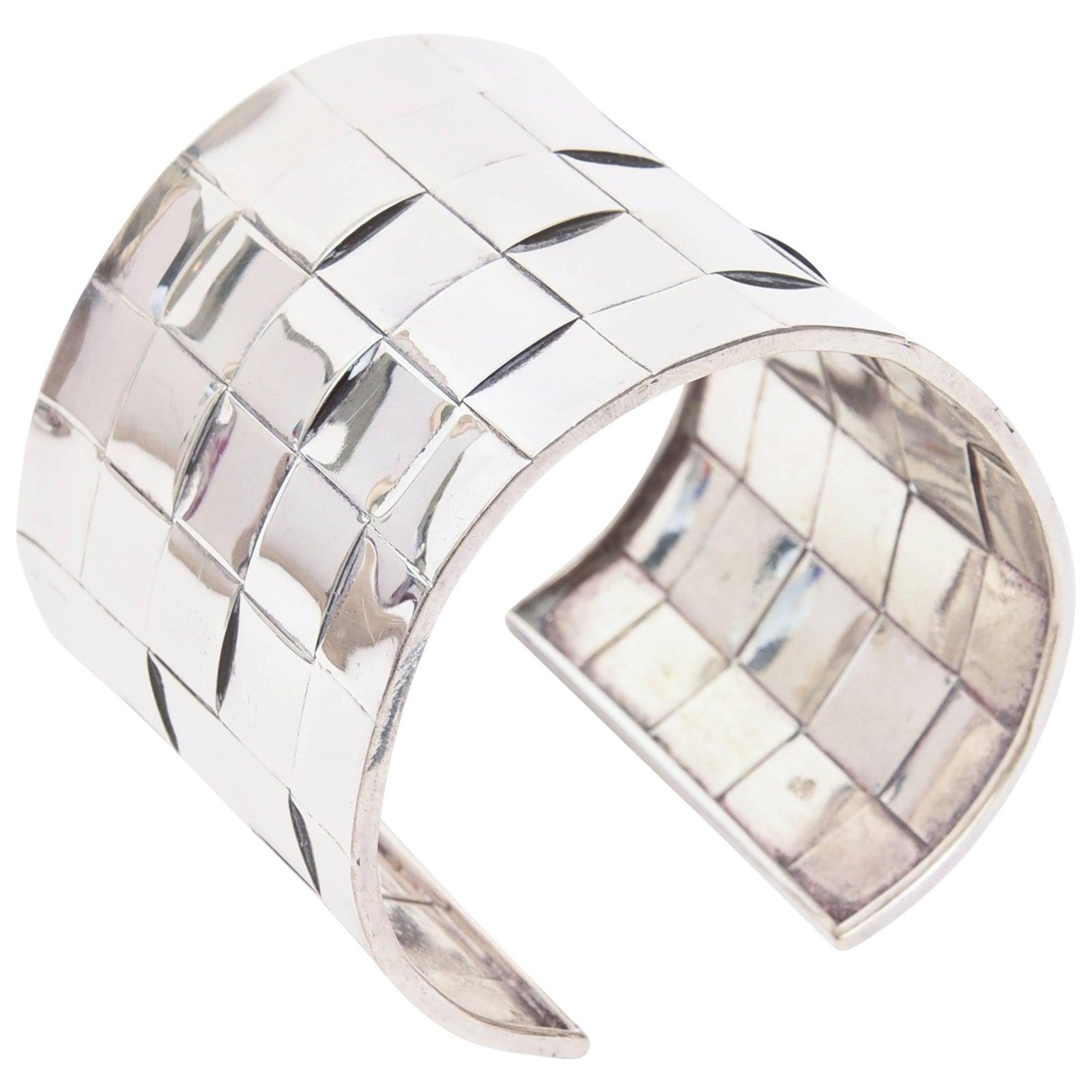 9c2cfaaec1c Sterling Silver Basket Weave Cuff Bracelet | Chairish