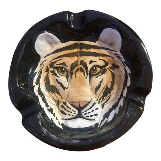 1970's Italian Terra Cotta Tiger Ashtray For Sale