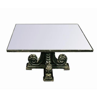 Rare Black Carved Mirror Glass Top Antique Coffee Table Side Low Vintage Square For Sale