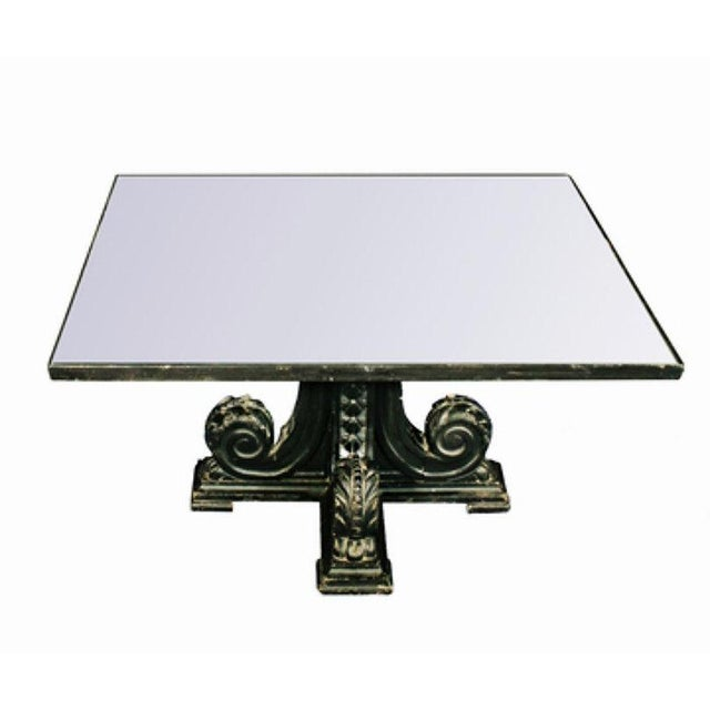 Low Black Square Coffee Table: Rare Black Carved Mirror Glass Top Antique Coffee Table