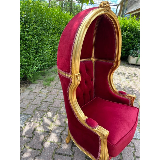 2010s French Dark Red Tufted Throne Children Size Balloon Chair. For Sale - Image 5 of 10