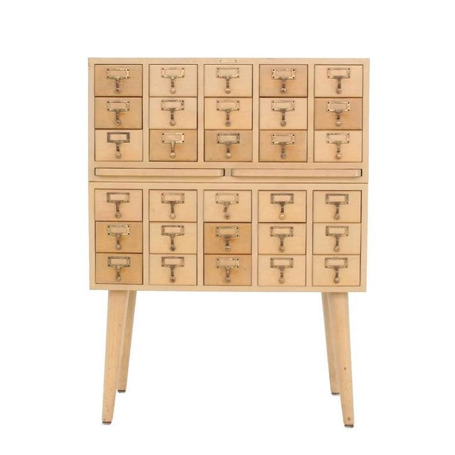 Mid 20th Century Multi Drawer Vintage All Solid Wood Index Card File Cabinet For Sale - Image 5 of 9