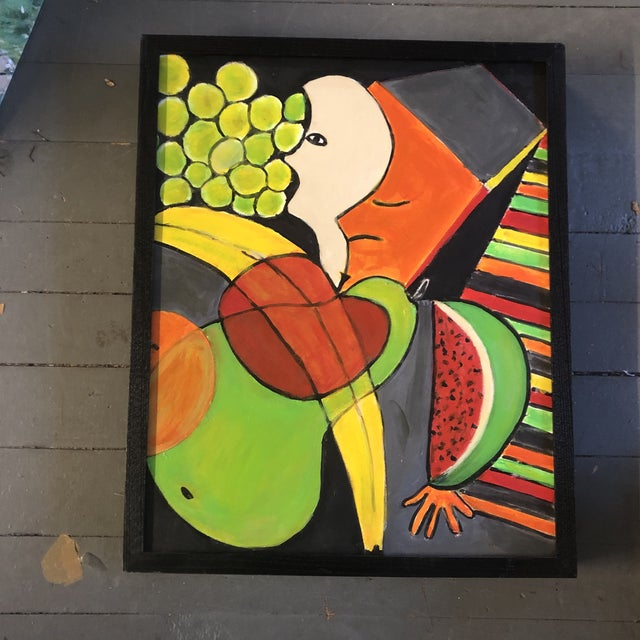 Abstract Vintage Original Abstract Modernist Still Life Painting Framed 1970's For Sale - Image 3 of 3
