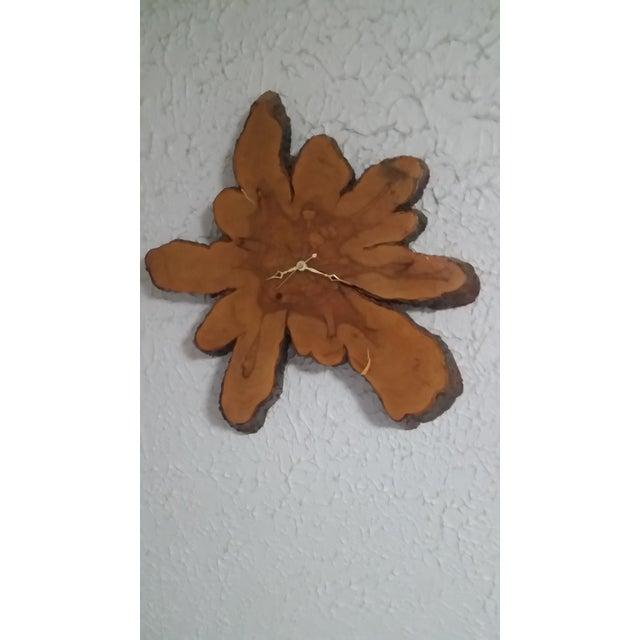 Wood 1980s Minimalist Live Edge Wall Clock For Sale - Image 7 of 7