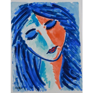 Fauvist Face Portrait Painting by Cleo Plowden For Sale