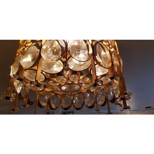 Metal Vintage Hollywood Regency Crystal Chandelier in Style of Gaetano Scilari for Palwa For Sale - Image 7 of 9