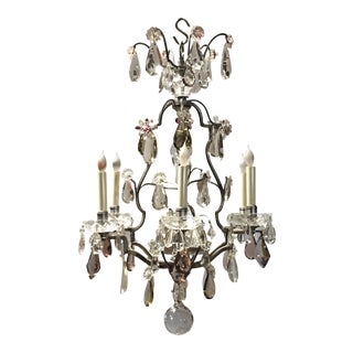 A French Silvered Bronze and Crystal Chandelier For Sale