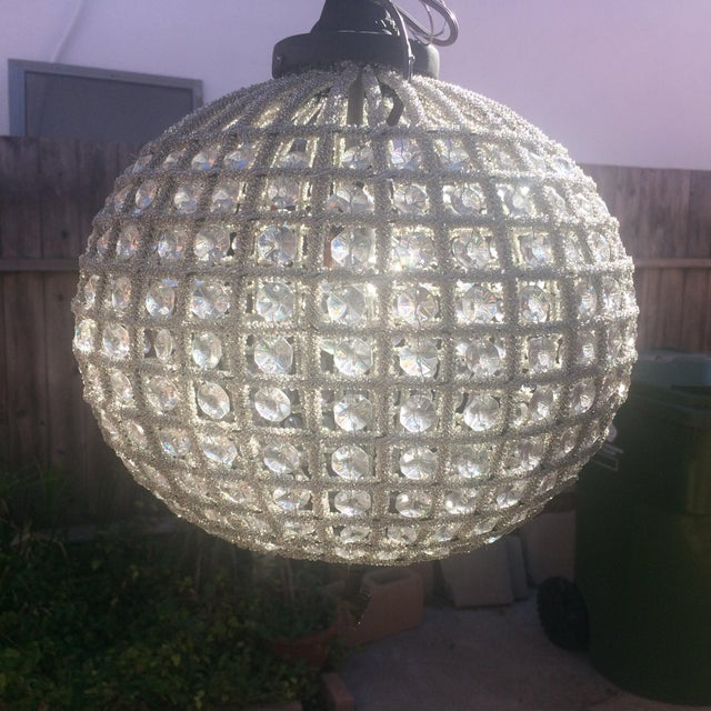 None Antique Reproduction French Beaded Globe Chandelier For Sale - Image 4 of 4