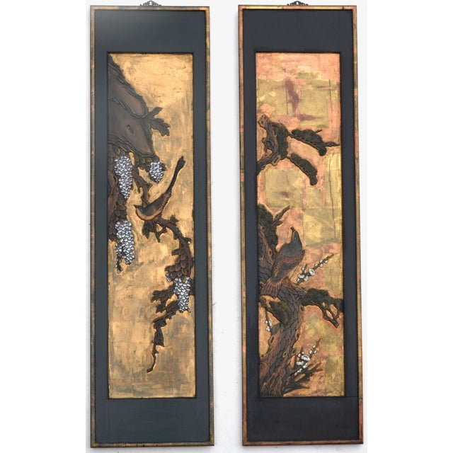 Chinese Lacquered Carved Wood Panel Pair For Sale In Los Angeles - Image 6 of 7