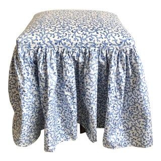 White Blue Coral Pattern Skirted Parsons Stool For Sale