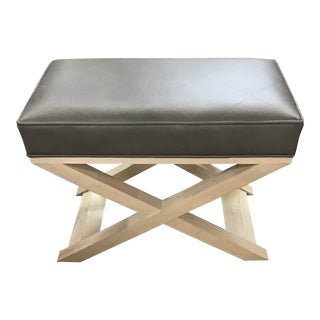 Century Gray Leather Bench For Sale