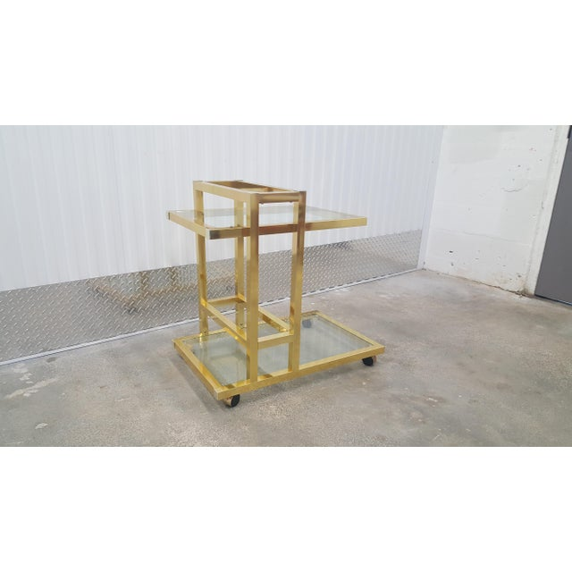Vintage Brass Bar Cart. For Sale - Image 10 of 13