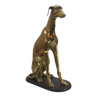Large Brass Greyhound Dog Statue on Base For Sale