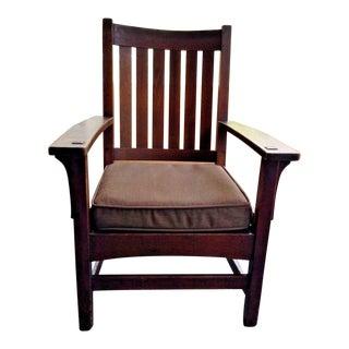 Antique L. J. & G. Stickley Six Vertical Slat Back Oak Arm Chair For Sale