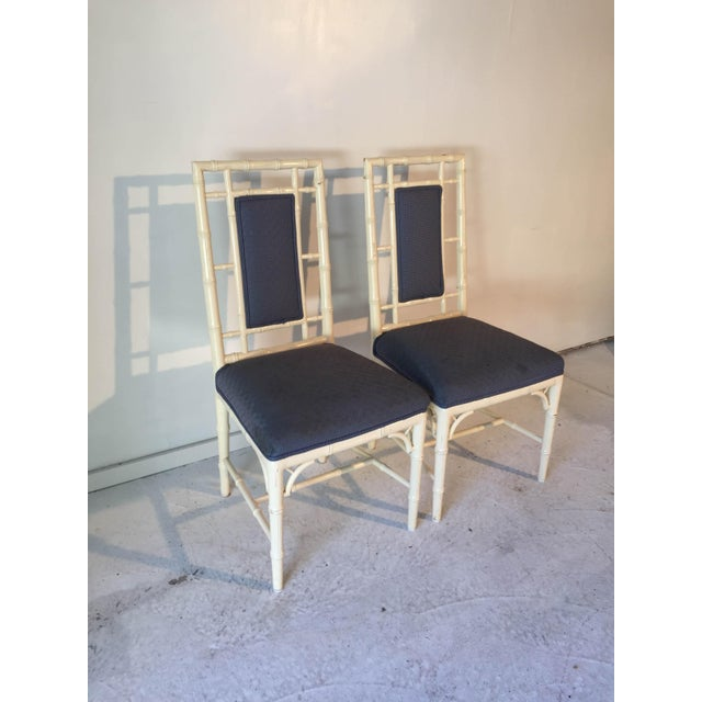 Contemporary Vintage Cottage Faux-Bamboo High-Back Side Chairs - A Pair For Sale - Image 3 of 8