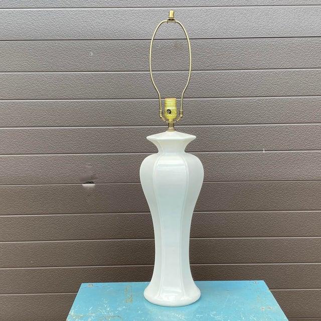 White Vintage Morris Greenspan White Ceramic Table Lamp For Sale - Image 8 of 8