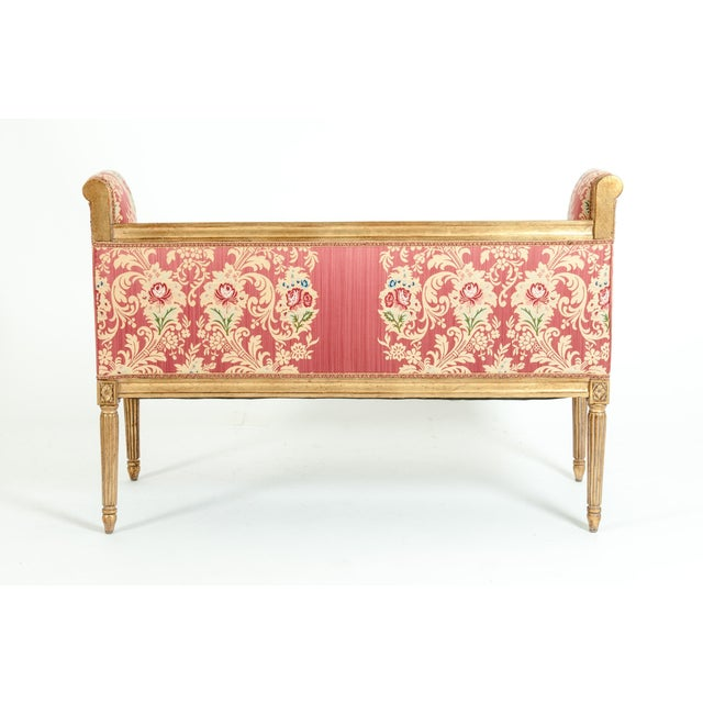 French Louis XVI Style Giltwood Frame Settee For Sale - Image 12 of 13