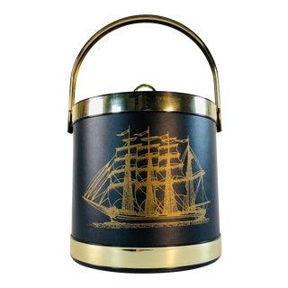 Vintage Black Ice Bucket With Ship Design For Sale
