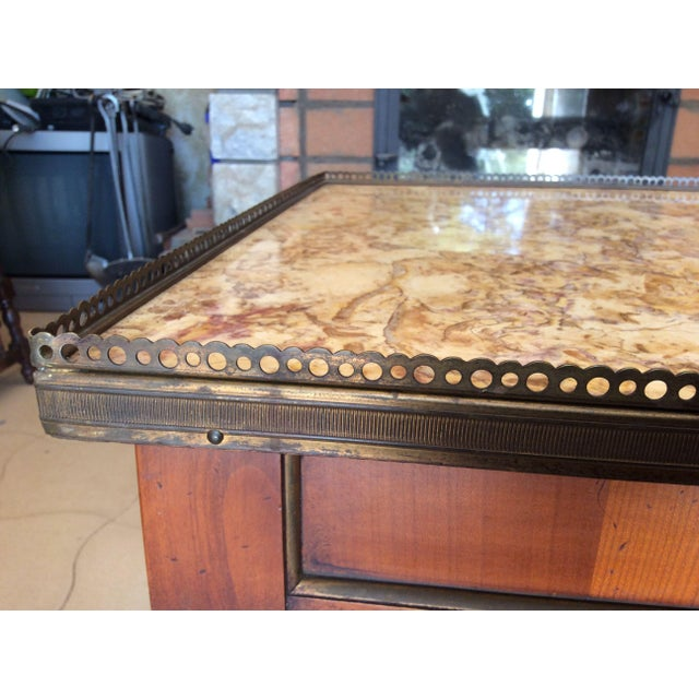 French French Walnut Coffee Table With Marble Top For Sale - Image 3 of 11