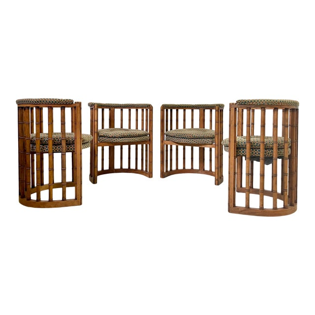 Vintage Set of 4 Bamboo Barrel Back Game Chairs For Sale